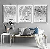SHINERING 3 Stück Un Nordic Poster Wandkunst Leinwand Gemälde Druck Weltkarte Paris London New York Bild für Wohnzimmer Dekor 50 x 70 cm