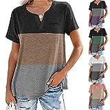 Kurzarm Damen Bluse Elegant Bequem Sommer V Ausschnitt Damen Tops Exquisites Farbkontrast Schnitt Design Tägliche Lässige Atmungsaktive All-Match Damen T-Shirts A-Khaki L