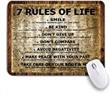 Gaming Mouse Pad rutschfeste Gummibasis, Zitate 7 Regeln des Lebens Lustige Zitate auf Vintage Woden Board mit altem Zeitungsdruck, für Computer Laptop Office Desk