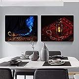 LangGe Kunstposter 4 Stück 60x80cm ohne Rahmen Arabischer Nahöstlicher Stil Allahs Lampe Vaporizer Poster und Drucke Dekoration Bilder Raumdekor