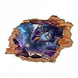 nikima - 097 Wandtattoo Drache Fantasy - Loch in der Wand - in 5 Größen - wunderschöne Kinderzimmer Sticker und Aufkleber Bezaubernde Wanddeko Wandbild Junge Mädchen Größe 1000 x 700 mm