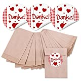 24 kleine braune MINI Papier-Tüten Geschenkbeutel (6,3 x 9,3 cm) und 24 runde Aufkleber Sticker DANKE rot kariert m. Herzen