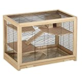 EUGAD Hamsterkäfig Holz Groß Kleintierkäfig Mäusekäfig Nagerkäfig Nagervilla Dreistöckig 62x50x86cm 0001CSL