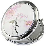KOLIGHT Doppelseitiger Kosmetikspiegel (eine ist normal, eine andere ist vergrößert), tragbar, faltbar, Taschenspiegel, Metall, Kosmetikspiegel (Blume + schwarzer Vogel)