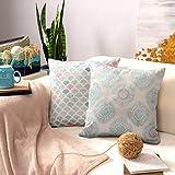 AMITRIS Kissenbezüge 40x40 / 45x45 2er Set Chenille   Dekokissen mit unterschiedliche Vorder- und Rückseite   Pillow Cover   Outdoor Kissen