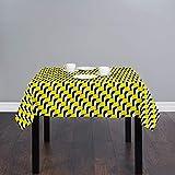 Ostertischdecke, langlebige Baumwollleinen-Tischdecke, staubdicht, Tischdecke für Küche, Esszimmer, Tischdekoration, 137 x 137 cm, Kaninchen-Häschen verliebt romantisches Design