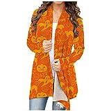 IsMoon Damenmode Halloween Strickjacke Bluse Vertuschung Kürbis-Skelett-Druck Kimono Lose Schal Cardigan Capes Langarmmantel