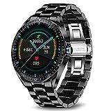 LIGE Smart Watch, Fitness-Tracker MitBlutdruck, Herzfrequenzmesser, 1,3-Zoll-Touchscreen, wasserdichte IP67-Smartwatch, Fitness Uhr für Männer, Edelstahl Band für Android iOS Schw