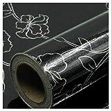 ZSFBIAO Möbelfolie Selbstklebend Tapeten Folie Möbelsticker Aufkleber Wand für Möbel Küche Küchenschrank -Schwarzer Laser 60cm*10m
