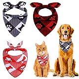 URATOT Hundehalstücher, quadratisch, Büffelmuster, waschbar, verstellbar, für Haustiere und Katzen, 3 Stück