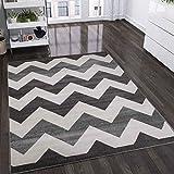 Moderner Teppich Zickzack Muster Meliert, Farbe:Grau, Maße:120x170