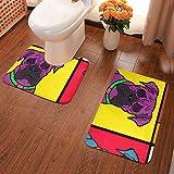 Hunde-Badezimmerteppich, bunte Warhol-Quadrate, U-förmig, WC-Teppich, rutschfeste Unterseite, 2 Stück