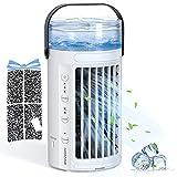 Hommie Tragbare Klimaanlage, 4-in-1 Doppelventilator, für starke Kaltluft, 3 Geschwindigkeiten, 45 dB, leise, 7 Farben, LED-Lichter, Klimaanlage für Büro und Zuhause