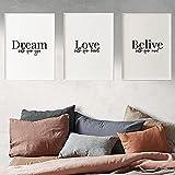 Wandkunst Leinwand Malerei Einfach Inspirierend Poster Zitat Traum Offene Augen Liebe und Offenes Herz Glauben und Offene Gedanken Wandkunst Dekoration 3x40x60cm Rahmenlos