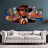 HHGJJ 5 Teiliges Bild Django 5 Teilig Leinwandbilder,Leinwanddrucke Bilder,Bild Leinwand XXL 5 Teilig,Wandbilder Schlafzimmer Dekoration,Bilder,Poster,Kunstdrucke 150X80Cm