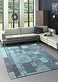 Bari Moderner Vintage Teppich mit klassischen Elementen, Patchwork, Designer Teppich, Super Flach, Used Look,Kräftige Farben, Türkis 160x230