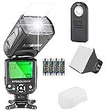 Neewer NW561 Flashblitz Blitzgerät Set für Canon Nikon Olympus Fujifilm DSLR Kamera.Enthält: NW561 Blitz + Blitz-Diffusor + 5-in-1 Multi Funktion Fernbedingung + 4xBatterien + Reinigungstuch