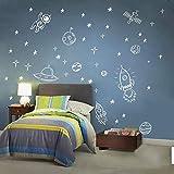 Rakete Raumschiff Astronaut Kreative Vinyl Wandaufkleber Junge Raumdekoration Weltraum Wandtattoo Kinderzimmer Kinderzimmer Dekoration 86 * 56cm Weiß