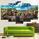 CXVXC 5 Teilig Vlies Leinwandbild Kunstdruck modern Wandbilde, Kriegsgefangener kniet nieder, Wand Kunstdruck Malerei für Wohnzimmer, Schlafzimmer Flur, Mit RahmenWanddek