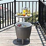 BUSUANZI Terrasse-Möbel und Whirlpool-Side-Tisch, Terrassenkühler im Freien, einstellbare Höhentische, Bier und Weinkühler, wasserdicht und stetig