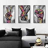 XIAOMA Abstraktes Graffiti-Liebhaber Poster Wandkunst Leinwand Malerei Buntes Wandbilder Modern Wohnzimmer Schlafzimmer Dekor Rahmenlos (3x60x80cm)