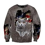 American British Shorthair Cat 3D Print Hoodie Man Harajuku Outwear Zipper Pullover Sweatshirt Casual Unisex Gr. XXXXXX-Large, 3D-Sweatshirt
