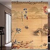 Lqdp Rollo Rollos Bambus-Rollos im Japanischen Stil, Teehaus im Wohnzimmer, Rollhaus mit Beschlägen, Breite 60cm/80cm/100cm/120cm (Color : WxH, Size : 120×120cm/47.2×47.2in)