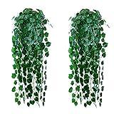 Wenxiaw Hängepflanze Kunstpflanze Plastikpflanzen Hängepflanze Kunstblumen im Topf Hängend Efeu Künstlich Hängend Künstliche Hängende Pflanzen für Hochzeit Hausgarten Wanddekoration, 2 Stück