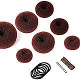 Donut Hair Bun Maker Set 7 Stück - Haarstyling Frisurenhilfe Set mit 5 elastischen Haarband, 20 U-Form Haarspange Haarnadel, Haarknoten Former Set für Kinder Mädchen Frauen (Braun)