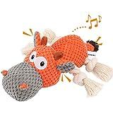 Iokheira Spielzeug für Hunde, Interaktives Hundespielzeug, stabiles Quietschende Hundespielzeuge mit Baumwollstoff und Knitterpapier, Kauknochenspielzeug für große und kleine H