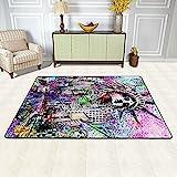 Teppich für Wohnzimmer, Kunststatue der Freiheitsstatue Zeichnung rutschfeste Bodenmatte Teppiche Home Decor Schlafzimmer