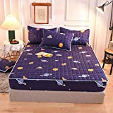 ChileYile Bed Cover,3D-gedruckte geschliffene Gesteppte kassierte Blätter Matratzenschutz staubdicht und feuchtigkeitsfestes Tagesdecke einzelne Doppelgeschenk-R.150 * 200 cm (3 stücke)