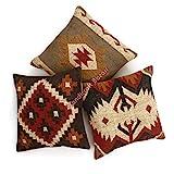 Handicraft Bazarr Vintage Quaste getuftet Kelim Wolle Jute Kissen Bezug Textil Kissenbezug Zottelkissen Bohemian Traditionell Sham Rustikal Raumdekoration Kissenbezug von Amazon