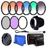 K&F Concept® Objektiv Filterset 52mm 6er Verlaufsfilter 52mm Slim UV CPL FLD Filter für Canon Nikon DSLR Kamera mit Reinigungstuch Objektivkappenhalter 2 Filtertaschen Gegenlichtblende Objektivdeckel