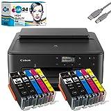 Canon PIXMA TS705 Tintenstrahldrucker schwarz + USB Kabel & 10 kompatible Druckerpatronen der Marke ink24 (Drucken per USB oder WLAN) - Originalpatronen ausdrücklich Nicht im Lieferumfang!