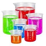 BUZIFU 6 Stück Messbecher Plastik, Transparent Labor Messbecher Set 25ml 50ml 100ml 150ml 300ml 500ml Labor Werkzeuge für Flüssigk