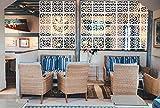 MYEUSSN Raumteiler Paravent Weiß DIY Paravents Raumtrenner Sichtschutz Trennwand Haus Dekoration für Wohnzimmer Schlafzimmer Küche Esszimmer 12pcs (Weiß-Romantisches Blumenmotiv)