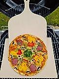 Pizzastein Brotbackstein Backofenplatte versch. Formate mit Holzschieber für Backofen, Grill & Smocker aus massiver Schamotte - Lebensmittelecht (Format 40 x 30 x 3,0 cm incl. Schieber)