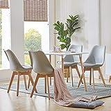 H.J WeDoo Esszimmergruppe mit Esstisch und 4 Essstühlen, Rechteckig Esstisch mit 4 Esszimmerstühle Geeignet für Esszimmer Küche Wohnzimmer, Weiß Esstisch und Grau Stü