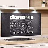 GRAZDesign Wandpaneele Küche Küchensprüche, Fliesenspiegel Küche Küchenmotiv, Glasrückwand Küche Steinoptik, Küchenrückwand Glas Küchenregeln / 60x40