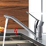 WOOHSE Niederdruck Küchenarmatur Einhebelmischer 360° Schwenkbarer Auslauf Niederdruck Armatur Küche Chrom Glänzend für drucklose Boiler Küche Spüle Flexible Anschlüsse inkl. Montag