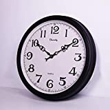 Beesealy Große Wanduhr, Europäische Bauernhaus-Vintage-Uhr, Innenbereich, geräuschlos, nicht tickend, betrieben, rustikale Uhr für Zuhause, 50,8 cm Wanduhr (schwarz) für Wohnzimmer und Küche