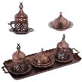 Alisveristime Ottomane Türkisch Griechisch Arabisch Espresso Kaffeetassen mit Untertasse und Deckel (Set von 2) (Acur) (Kupfer)