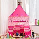 Kinderzelt | Indian Tower Zelt Spiel Princess Castle Polyester Kinder Indoor Outdoor Picknick Ausflug Kinderspielhaus 105CMX135CM-pink