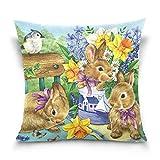 FULUHUAPIN Kissenbezug mit Kaninchenmotiv, quadratisch, bedruckt, Baumwolle, für Sofa, Heimdekoration, 40,6 x 40,6 cm, 2030385