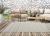 Calgary In- & Outdoor Teppich Flachgewebe, Modernes Design, Trendige Farben, Superflach, UV- und Witterungsbeständig, Beige-Raute, 120 x 160 cm