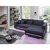Ivar Ecksofa in Bluvel schwarz mit großer Liegefläche und LED Beleuchtung, hochwertige Polsterung, gemütliches, Sofa mit Ottomane rechts in modernem Look
