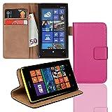 EximMobile Brieftasche Handytasche Flip Case Etui für Nokia Lumia 630 / 635 Pink