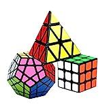 Coolzon Zauberwürfel Speedcube Set, Puzzle Cube Set 3x3 + Pyraminx Pyramid Cube + Megaminx, Speed Magic Cube PVC Aufkleber, 3 Stück