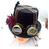 SSHZJUS Damen Schwarz Steampunk Zylinder mit Rose und Zahnrad Brille Bowler Hat Performance Hat Deluxe Steampunk Zylinder (Color : Schwarz, Size : 57cm)